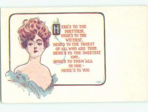 Divided-Back PRETTY WOMAN Risque Interest Postcard AA7850