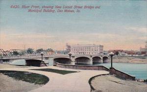 River Front Showing New Locust Street Bridge And Municipal Building Des Moine...