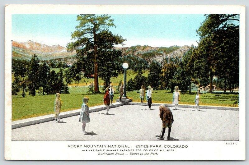 Estes Park CO~Rocky Mtn Nat'l Park~Kids Play Croquet~1920s Burlington Route PC