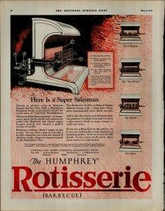 1927 Rotisserie Barbeque Humphrey Vintage Print Ad 3903