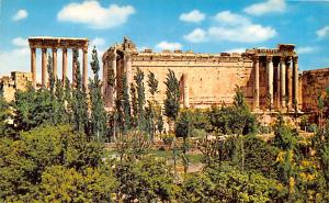 Baalbek, Lebanon Postcard, Carte Postale Temple of Bacchus and the six column...