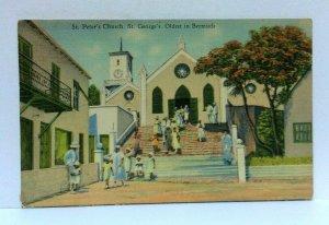 St George Bermuda St Peters Church Linen Vintage Postcard