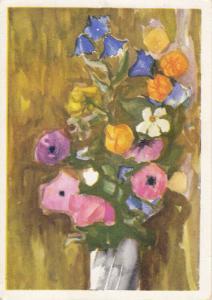 Flowers vase still life Eugeniusz Stec postcard