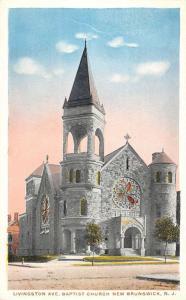 New Brunswick New Jersey Baptist Church Street View Antique Postcard K103336