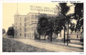 Belding Michigan~Belding Hall Mfg Co~Refrigerator Factory~1940s B&W Postcard