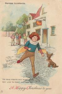 Proverbs Illustraded ; He who runs away...... , 1900-10s ; TUCK