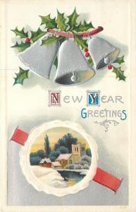 New Year~Silver Bells Ring~White Emboss Circle Frame Village~Red Ribbon~Emboss