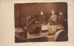 Real Photo Postcard~Three Men in Vintage Automobile~Close Up~c1912 RPPC
