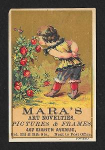 VICTORIAN TRADE CARD Mara's Art Novelties Child Flowers