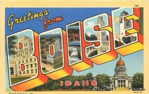1940s Large Letters multi View Boise Idaho linen Teich postcard 2180