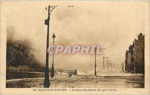 Old Postcard Boulogne sur Mer Ste Beuve embankment in heavy weather