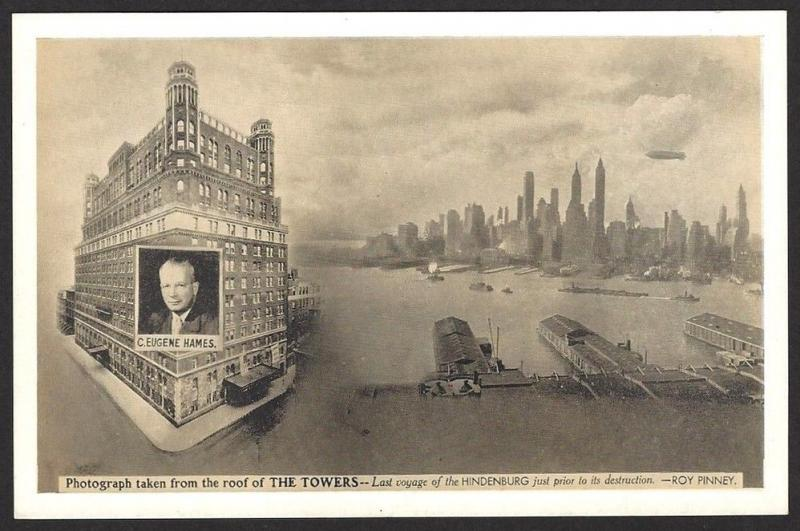 Hidenburg over New York just prior to it's destruction vintage postcard