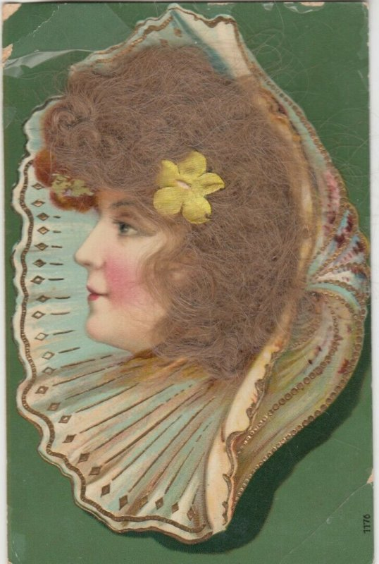 Real Hair ; Female Head portrait in seashell, 1900-10s