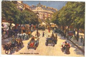 Raphael Tuck Oilette Paris Autos Boulevard des Italiens Street View Postcard