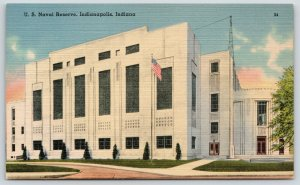 Indianapolis Indiana~Heslar Naval Reserve Armory~WPA Art Moderne~1940 Linen PC