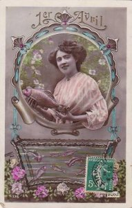 1er Avril April Fool's Day Beautiful Woman Holding Fish 1910