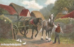 On the way to the hayfields. Horses Old vintage English postcard