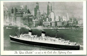 Vintage CIRCLE LINE SIGHTSEEING YACHTS Postcard Queen Elizabeth / NYC Skyline