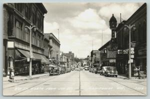 Manitowoc Wisconsin~8th Street North @ Joy~Capitol Theatre~Cafe~Sears~1940s RPPC