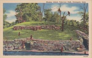 Iowa Davenport Monkey Island Fejervary Park Curteich