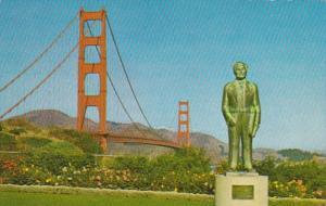 California San Francisco Strauss Statue and Golden Gate Bridge