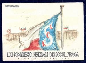 11th General Sokol Congress Prague Sokol Flag unused c1948