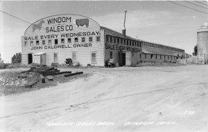 H20/ Windom Minnesota RPPC Postcard c40s Caldwell Sales Barn Horses