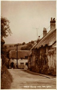 Vintage Real Photo Sepia Dorset Postcard, Church Lane, Osmington FZ0