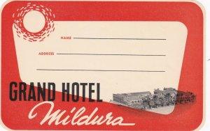 Australia Mildura Grand Hotel Vintage Luggage Label sk3770