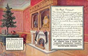 South Bend Indiana~St Joseph County Savings Bank~Christmas Tree~Dec 1909 Adv PC