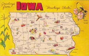 Greetings From Iowa The Hawkeye State With Map