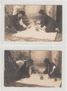 Lot 2 vintage dice gamblers real photo postcards player betting big paper money