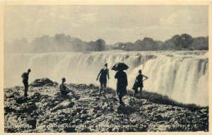 Victoria Falls bathing costumes Zambia early postcard