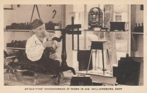 WILLIAMSBURG, Virginia, 1910s; An Old-Time Woodworker at Work in His Shop