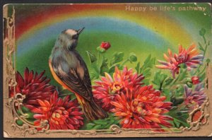 Happy be life's pathway with Dahlias and Robin - Embossed - pm1911 - DB