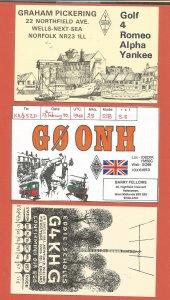 QSL AMATEUR RADIO CARDS – GREAT BRITAIN - 3 DIFFERENT – 1988-1992