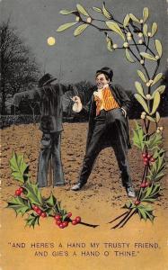 Drunken Fellow Makes Friends With Trusty Scarecrow~Moonlight~Mistletoe~Bamforth