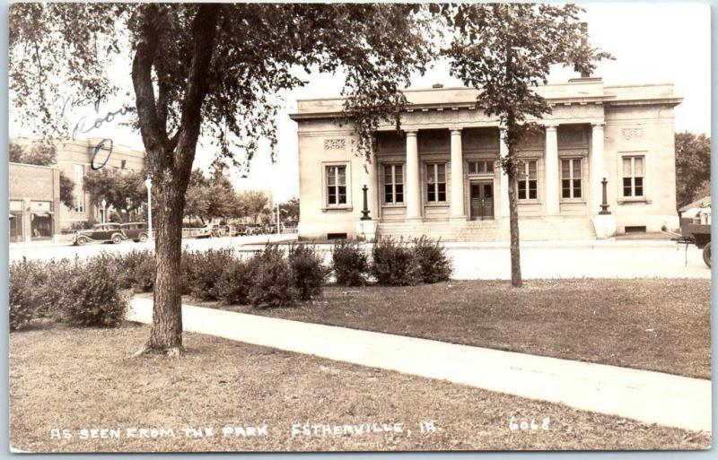 Estherville, Iowa RPPC Real Photo Postcard Post Office View from Park 1938