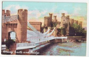 P1226 old unused view postcard conway castle & bridge Wales, United Kingdom