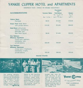 Vintage Yankee Clipper Hotel and Apartments Rate Schedule, Fort Lauderdale, FL