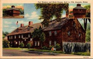 Maine Augusta Fort Western and Block House Built 1754 1954 Curteich