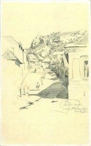 Hungary Pecs vintage artist signed Richter Aladar Danubia postcard Havihegyi