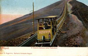 Italy -  Naples and Mt Vesuvio. Funicular Railway