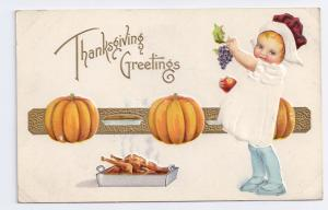 Thanksgiving Girl Pumpkins Child Roast Turkey Gold Embossed Postcard