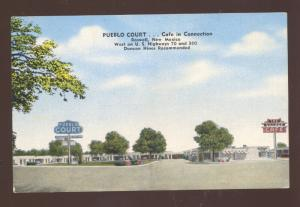 ROSWELL NEW MEXICO PUEBLO COURT MOTEL VINTAGE LINEN ADVERTISING POSTCARD