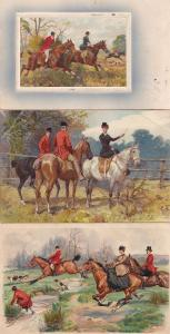 Equestrian Lady Rider Leads Men 3x Antique Fox Hunting Horse Postcard s