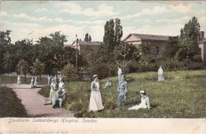 Sweden Stockholm Sabbatsbergs Hospital Nurses and Patients Relaxing Outdoors