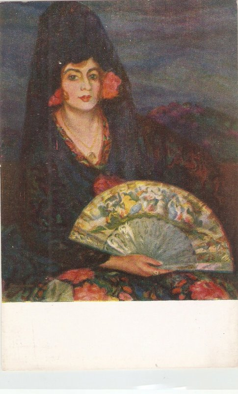 Juan Cardone. spanish Lady. La maja  Fine painting, nice Spanish PC 1920s