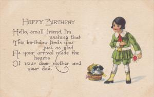 BIRTHDAY, Happy Birthday Message, Little Boy And A Dog With A Basket, 1900-19...