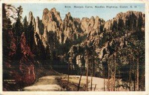 Circa 1929 Hairpin Curve, Needles Highway, Custer, South Dakota Postcard